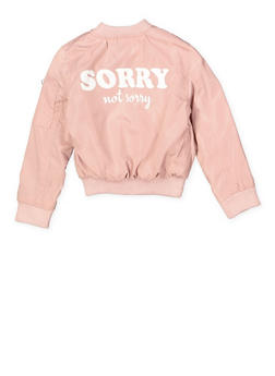 Girls 7-16 Sorry Not Sorry Bomber Jacket - 1627051060121