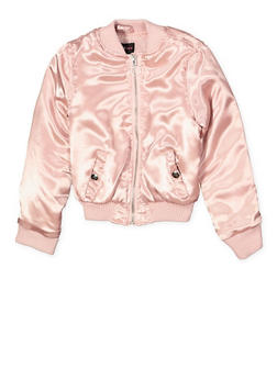Girls 7-16 Satin Bomber Jacket - 1627051060122