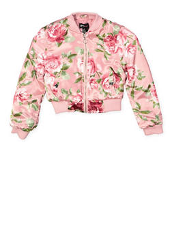 Girls 7-16 Floral Satin Bomber Jacket - 1627051060123