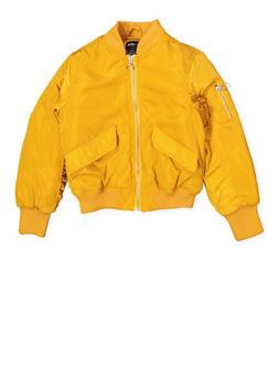 Girls 7-16 Ruched Sleeve Bomber Jacket - 1627051060126