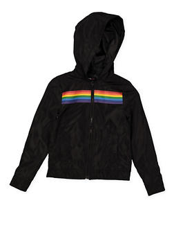 Girls 7-16 Rainbow Trim Windbreaker - 1627051060132