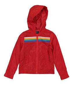 Girls 7-16 Rainbow Trim Windbreaker - 1627051060132