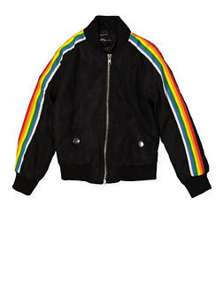 Girls 7-16 Rainbow Striped Tape Bomber Jacket | Black - 1627051060135