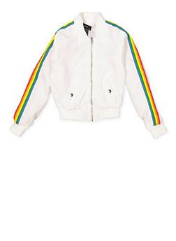 Girls 7-16 Rainbow Stripe Detail Bomber Jacket - 1627051060137