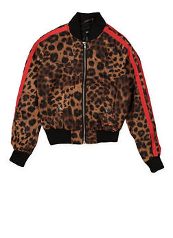 Girls 7-16 Varsity Stripe Leopard Bomber Jacket | Brown - 1627051060138