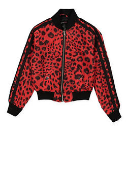 Girls 7-16 Varsity Stripe Leopard Bomber Jacket | Red - 1627051060139