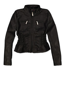 Girls 7-16 Cinched Waist Faux Leather Jacket - 1627051060160