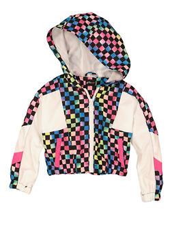 Girls Tie Dye Hooded Windbreaker Jacket - 1627051060251