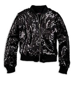 Girls 7-16 Black Sequin Zip Bomber Jacket - 1627051067016