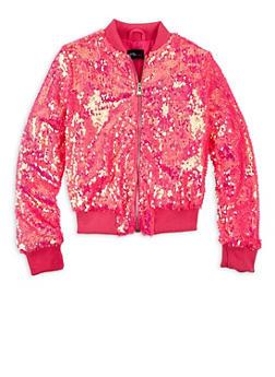 Girls 7-16 Pink Sequin Zip Bomber Jacket - 1627051067018