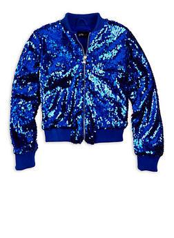 Girls 7-16 Blue Sequin Zip Bomber Jacket - 1627051067020