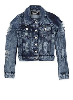 Girls 7-16 Destruction Denim Jacket - 1627063400006