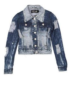 Girls 7-16 Destroyed Denim Jacket - 1627063400007
