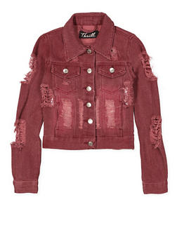 Girls 7-16 Destroyed Denim Jacket | Burgundy - 1627063400008