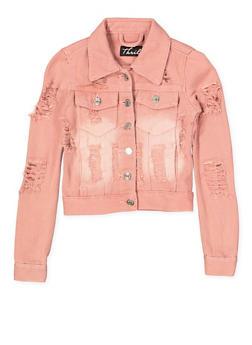 Girls 7-16 Destroyed Denim Jacket | Pink - 1627063400009