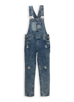Girls 4-6x Distressed Acid Wash Denim Overalls - 1628038340004