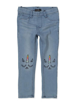 Girls 4-6x Caticorn Embroidered Jeggings - 1628054730003