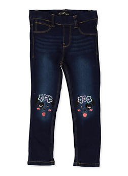 Girls 4-6x Dog Embroidered Jeggings - 1628054730004