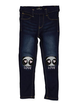 Girls 4-6x Panda Embroidered Jeggings - 1628054730005