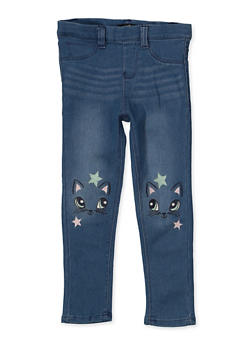 Girls 4-6x Star Cat Embroidered Jeggings - 1628054730006