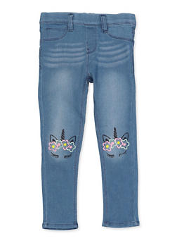 Girls 4-6x Unicorn Embroidered Jeggings - 1628054730007