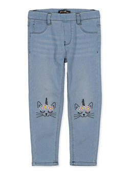 Girls 4-6x Caticorn Embroidered Jeggings - 1628054730010