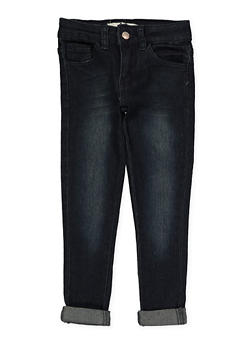 Girls 4-6x Rolled Cuff Whisker Wash Skinny Jeans - 1628056720040