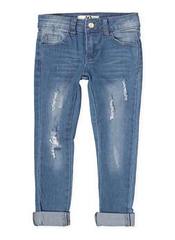 Girls 4-6x Distressed Jeans - 1628056720046