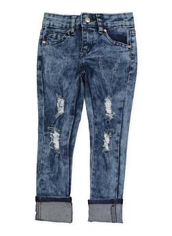 Girls 4-6x Acid Wash Distressed Jeans - 1628056720051