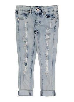 Girls 4-6x Frayed Skinny Jeans - 1628056720052