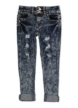 Girls 4-6x 2 Button Distressed Jeans - 1628056720056