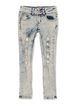 Girls 4-6x Two Button Distressed Jeans - 1628056720069