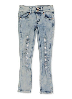 Girls 4-6x Frayed 2 Button Jeans - 1628056720070