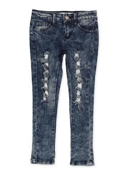 Girls 4-6x Frayed Destruction Jeans - 1628056720072