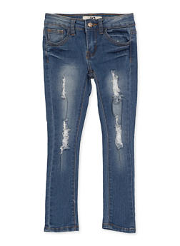 Girls 4-6x Distressed Frayed Jeans - 1628056720074