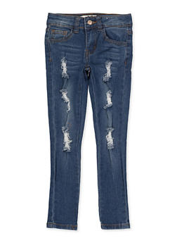 Girls 4-6x Frayed Distressed Jeans - 1628056720075