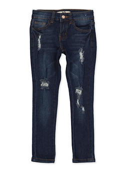 Girls 4-6x Frayed Whiskered Jeans - 1628056720076