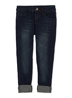 Girls 4-6x Whiskered Roll Cuff Skinny Jeans - 1628056720079