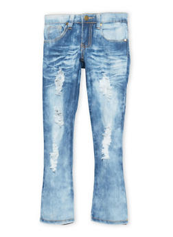 Girls 4-6x Distressed Light Wash Jeans - 1628063400040