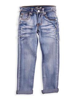 Girls 4-6x Light Wash Rhinestone Chain Link Jeans - 1628063400045