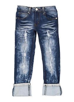 Girls 4-6x Whiskered Acid Wash Jeans - 1628063400051