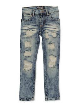 Girls 4-6x Whisker Wash Destruction Jeans - 1628063400062