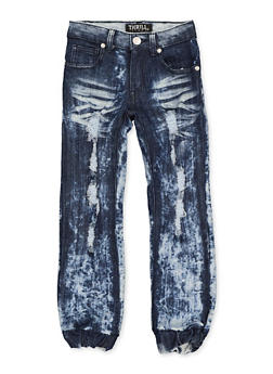Girls 4-6x Destruction Denim Joggers - 1628063400063