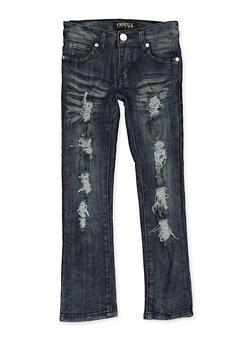 Girls 4-6x Frayed Whisker Wash Jeans - 1628063400067