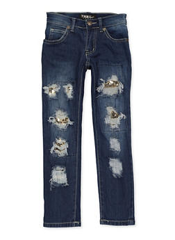 Girls 4-6x Sequin Patch and Repair Jeans - 1628063400068