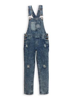 Girls 7-16 Distressed Denim Overalls - 1629038340006
