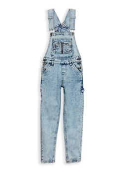 Girls 7-16 Acid Wash Denim Overalls - 1629038340009