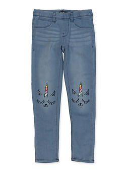 Girls 7-16 Pull On Embroidered Jeans - 1629054730003