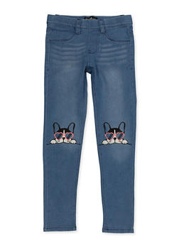 Girls 7-16 Dog Embroidered Pull On Jeans - 1629054730004