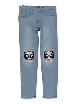 Girls 7-16 Panda Embroidered Pull On Jeans - 1629054730005